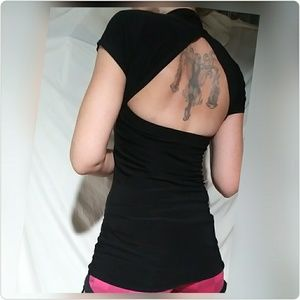 Open back black fitted short sleeve top
